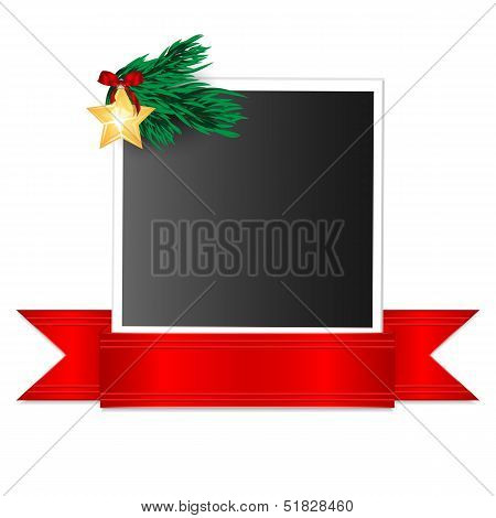 Christmas Background.photo Emblazoned Christmas Decorations And Red Ribbon.photography With Christma