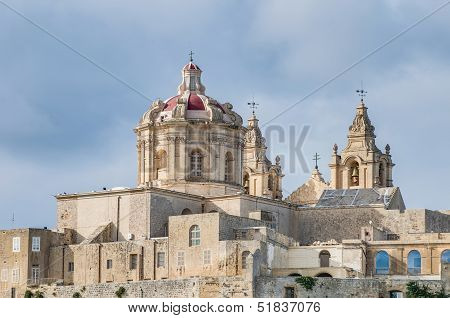 Saint Paul's Cathedral designed by the architect Lorenzo Gafa in Mdina Malta poster
