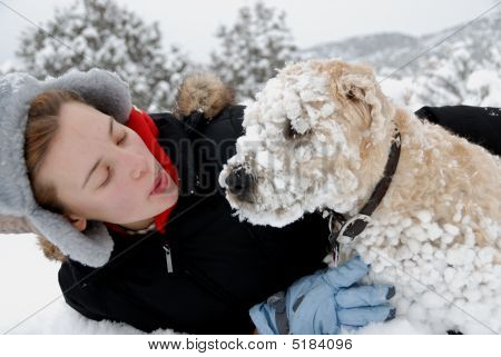 Teen With Her Dog