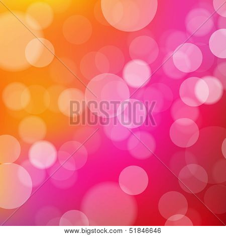 Lights Orange And Pink Background With Bokeh, With Gradient Mesh, Vector Illustration