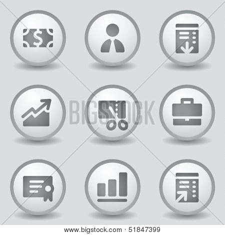 Finance web icons set 1, grey circle buttons