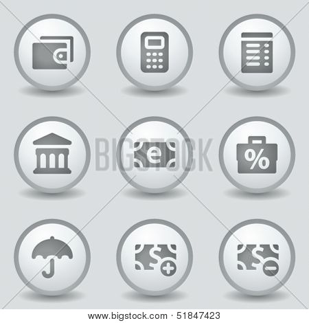 Finance web icons set 2, grey circle buttons
