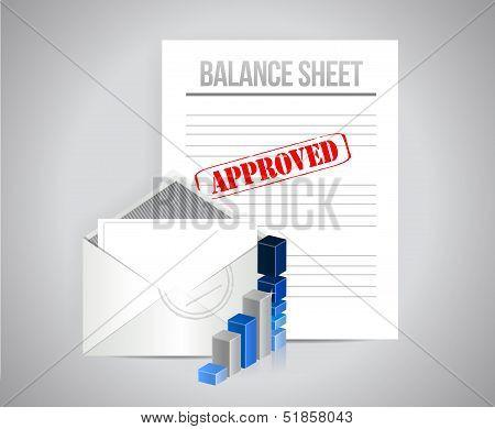 balance sheet approved concept illustration design background poster