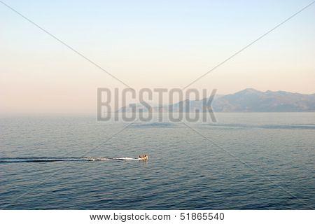 Gliding motorboat panorama