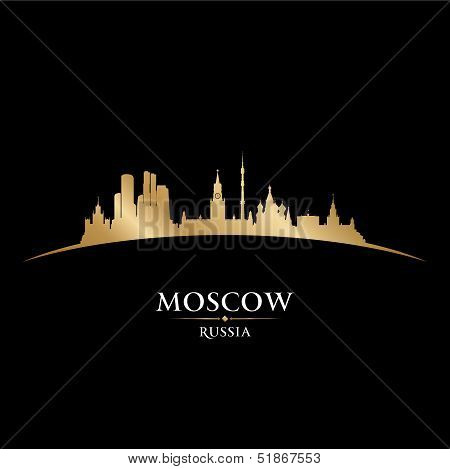 Moscow Russia City Skyline Silhouette Black Background