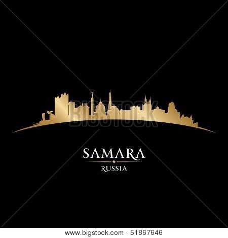 Samara Russia City Skyline Silhouette Black Background