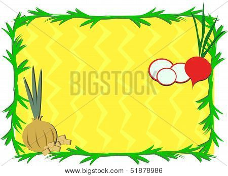 Frame of Sliced Radish and Onion Bulb