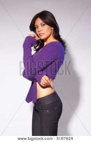 Brunette On Purple