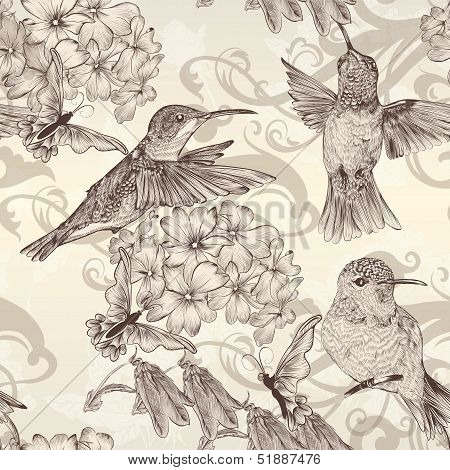 Beautiful Vector Seamless Wallpaper With  Humingbirds In Vintage Style