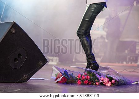 Bouquets Of Flowers At Concert