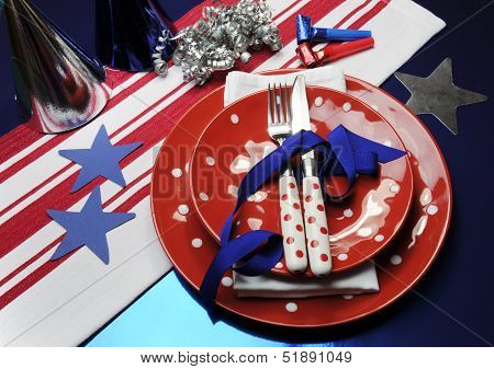 New England Patriots USA party table settings for Super Bowl National Football League (NFL) party celebration in blue red silver and white. (Portrait vertical orientation) poster