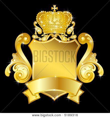 Golden  Heraldic Shield