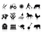 isolated black farm and agriculture icons set on white background poster