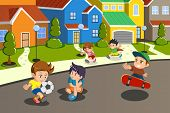 A vector illustration of happy kids playing in the street of a suburban neighborhood poster