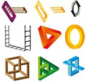 Illusions (unreal objects). A set of impossible figures, unreal objects. Different colored optical illusions of unreal geometrical objects. poster
