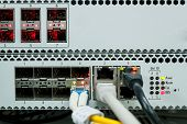 Passive Optical network technology center with fiber optic equipment poster