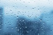 Fine and large water drops on window glass poster
