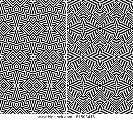 Set of Two Seamless Starry Patterns. Vector Illustration