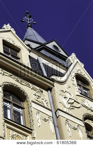 Facade of Art Nouveau (jugendstil) Building, Riga Latvia