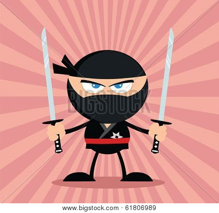Angry Ninja Warrior Cartoon Character With Two Katana Flat Design poster