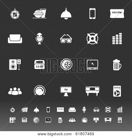 Home Theater Icons On Gray Background