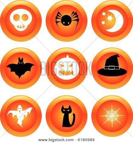 Set of halloween buttons