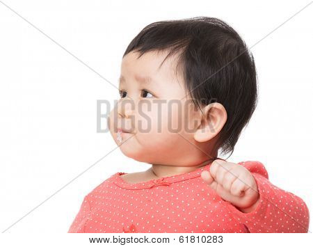 Asian baby girl drooling