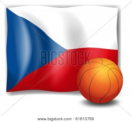 Illustration of the flag of CzechRepublic and a ball on a white background