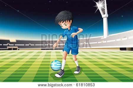 Illustration of a boy at the field using the ball from Greece
