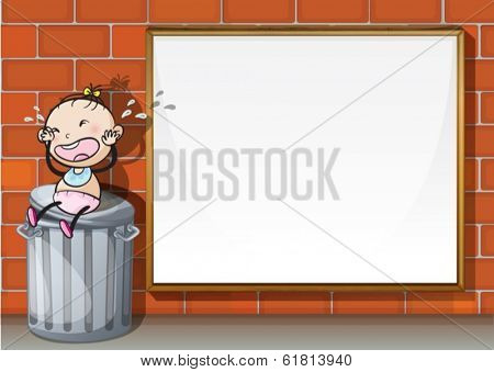 Illustration of a child above the trashbin beside the empty wooden board