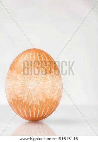 Brown egg decorated for Easter