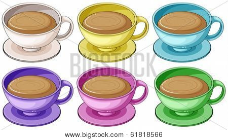 Illustration of the coffee in colorful cups on a white background