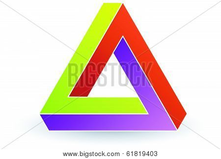 Pen rose triangle- Tricolor 3d Business icon