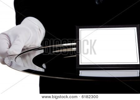 Waiter With A Silver Tray With A Blank Card
