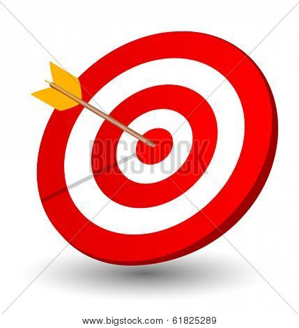 Arrow right on the target, symbol of winning