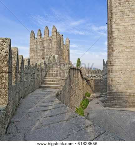 Guimaraes Castle interior, the most famous  castle in Portugal as it was the birth place of the first Portuguese King and the Portuguese nation. Unesco World Heritage Site.