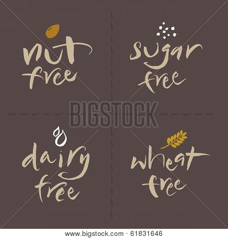 Hand Written Vector Food Labels Set - Nut Sugar Dairy Wheat