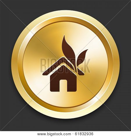 House with Leaf Icons on Gold Button Collection