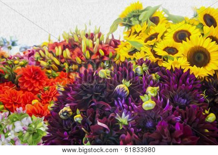 Stylized Rendering Of Colorful Flowers