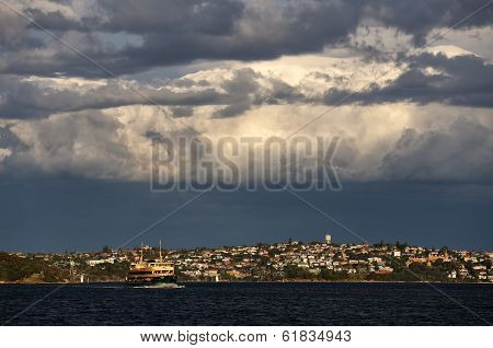 Manly Ferry arriving in Sydney in stormy weather