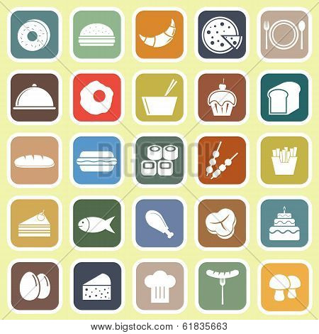 Food Flat Icons On Yellow Background