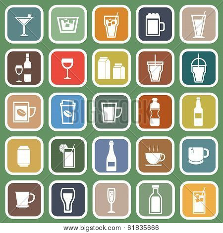 Drink Flat Icons On Green Background
