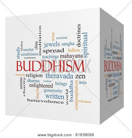 Buddhism 3D cube Word Cloud Concept with great terms such as religion teachings zen and more. poster