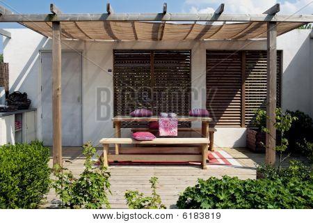 Wooden Patio In Garden