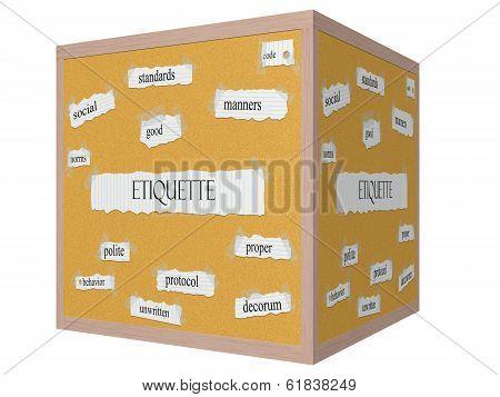 Etiquette 3D Cube Corkboard Word Concept