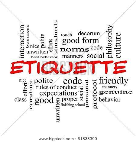 Etiquette Word Cloud Concept In Red Caps