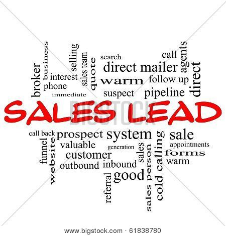 Sales Lead Word Cloud Concept In Red Caps