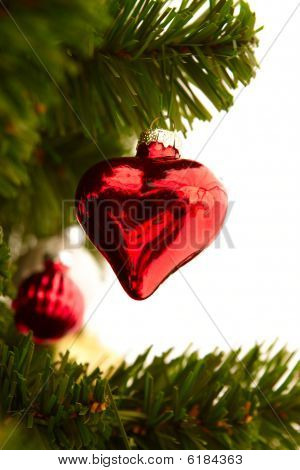 Christmas - Red Heart Decoration On White