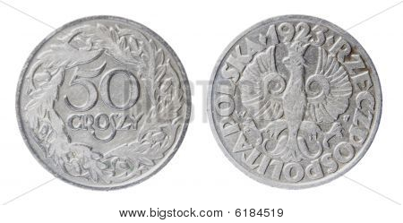 the old nickel polish coin 50 groszy of 1923 poster