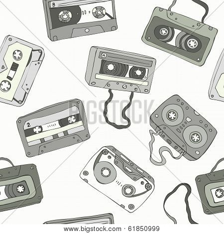 Seamless pattern of retro cassette tapes